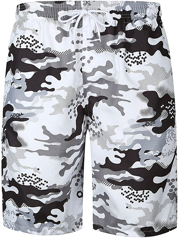 Men Drawstring Casual Printed Beach Work Casual Trouser Swim Bike Shorts Pants