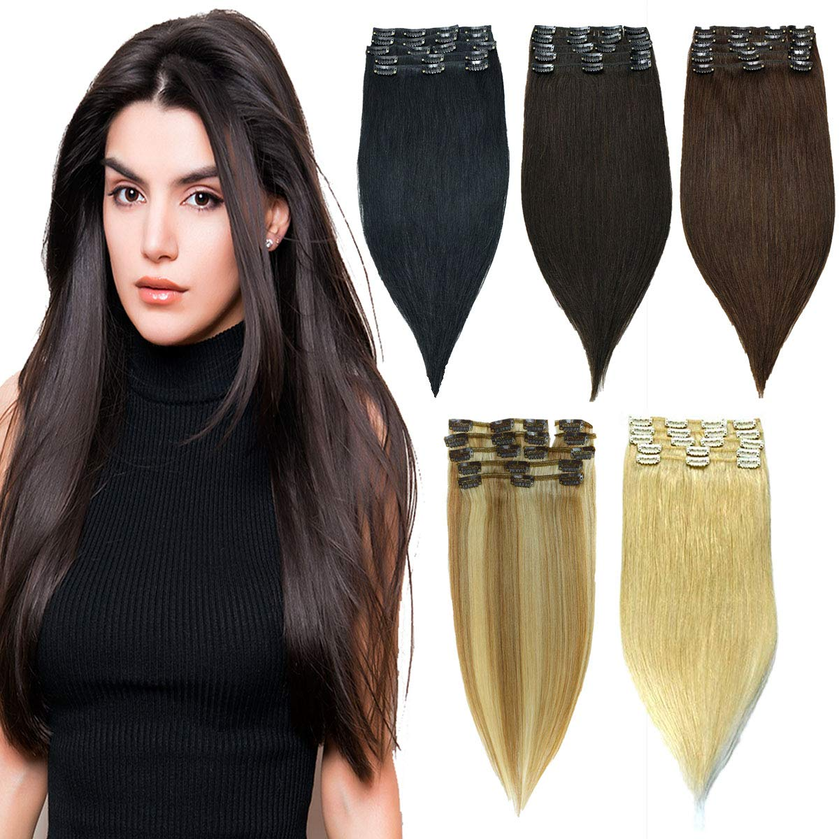 HAIRREAL Clip in Hair Extensions Remy Human Hair for Women Full Head Thick Straight Real Human Hair Clip in Extensions 8pcs Set 14-22 Inch