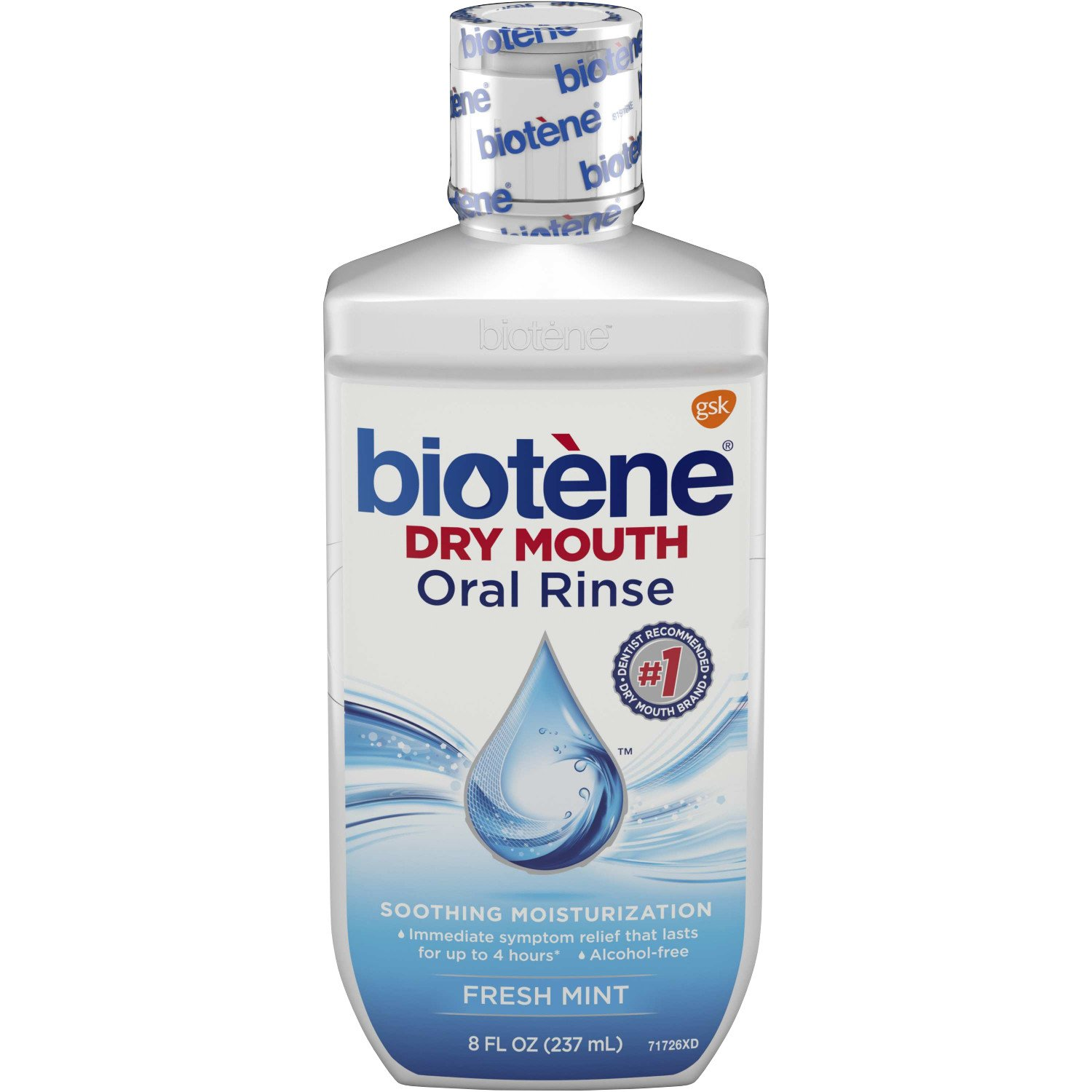 Biotene Fresh Mint Moisturizing Oral Rinse Mouthwash, Alcohol-Free, for Dry Mouth, 8 ounce (pack of 12) GlaxoSmithKline 80225