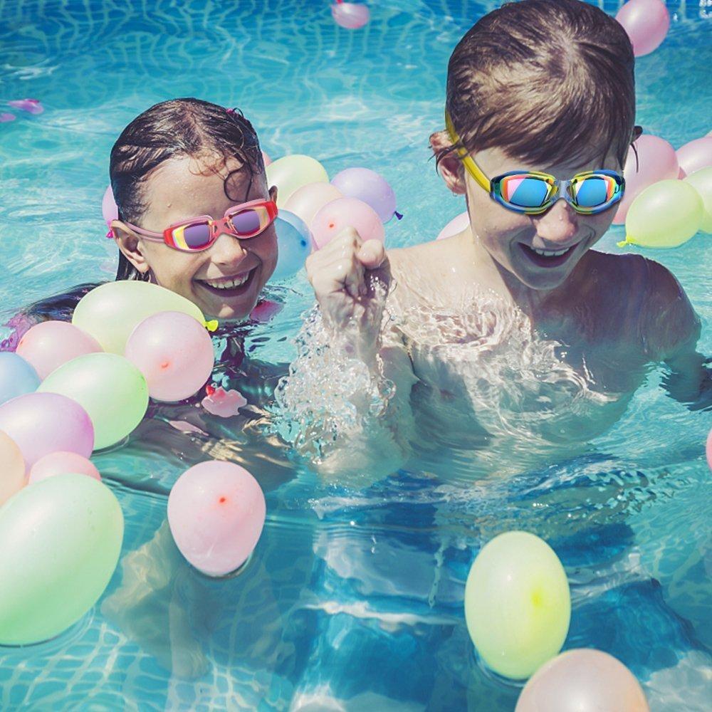 Gafas de natación,hurdilen gafas de natación para niños gafas de natación con protección UV, antivaho sin fugas. con Clip de la nariz, tapones para los ...