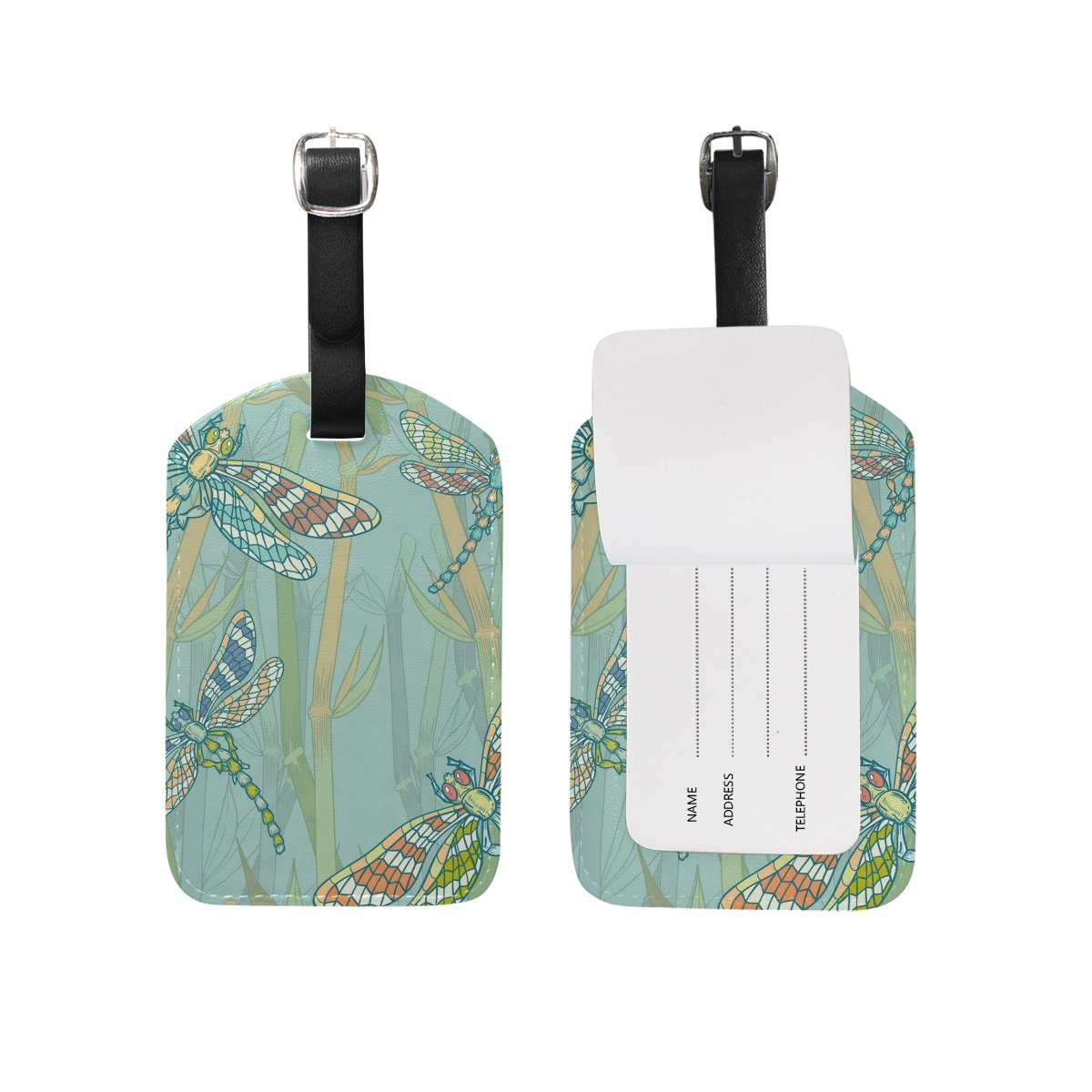 Luggage Tags PU Leather Tags Suitcase Labels Travel Bag With Privacy Cover Woodland Path Watercolor Creative Pattern Printing 2pcs