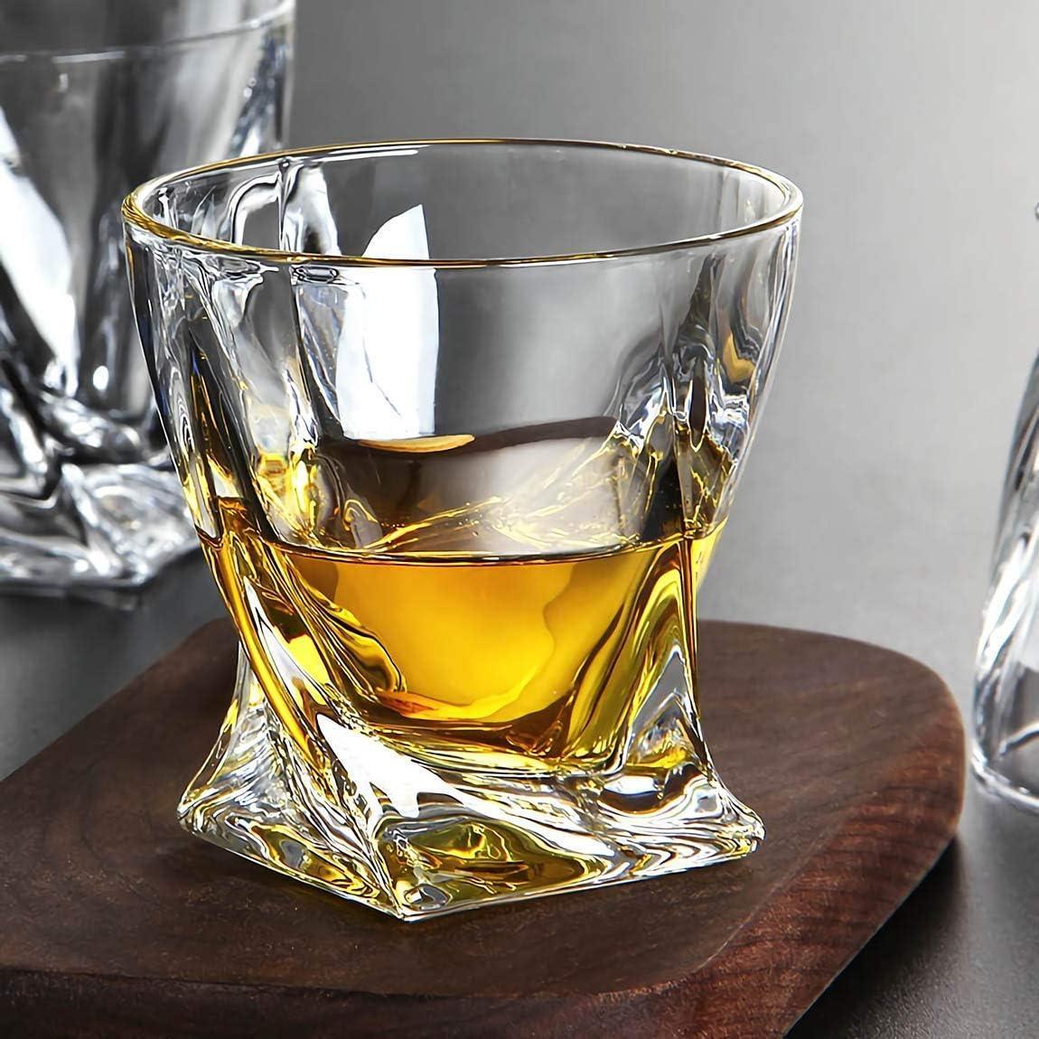 Lawei Lot de 6 verres /à whisky torsad/és en cristal pour d/égustation bourbon cognac Irish Whisky 300 ml