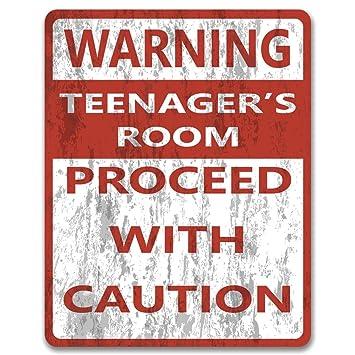 Advertencia adolescentes, metal de dormitorio o la pared/Cartel Para Puerta De Habitación: Amazon.es: Hogar