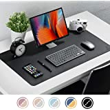 "Knodel Dual-Sided Desk Mat, 31.5"" x 15.7"" Desk Pad, Upgrade Sewing PU Leather Desk Blotter Protector, Mouse Pad, Writing Mat for Office and Home (Black)"