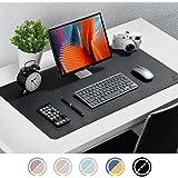 "Knodel Desk Mat, Office Desk Pad, 31.5"" x 15.7"" PU Leather Desk Blotter, Laptop Desk Mat, Waterproof Desk Writing Pad for Office and Home, Dual-Sided (31.5"" x 15.7"", Black/Black)"