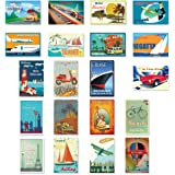 TRAVEL POSTERS postcard set of 20. Post card variety pack of retro style poster postcards. Made in USA.
