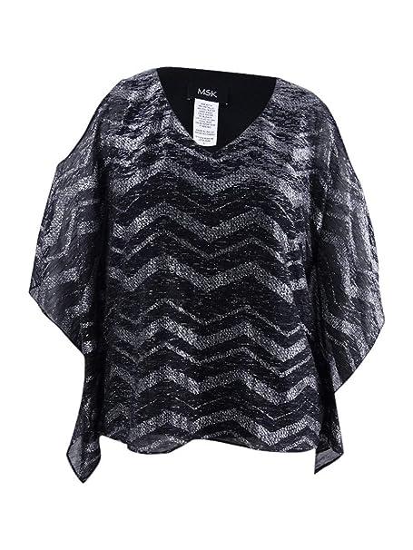 578d25d20d46a MSK Womens Metallic Cold Shoulder Blouse at Amazon Women s Clothing store