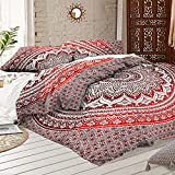 Indian Art Queen Size Red Ombre Mandala Duvet Cover With Pillow cases Indian Donna Cover Set Boho Duvet Cover Bohemian Bedspread