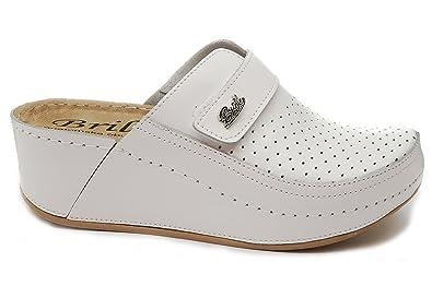 best service 9844c 20a0a Dr Punto Rosso BRIL D130 Zoccoli Sabot Pantofole Scarpe Pelle Donna