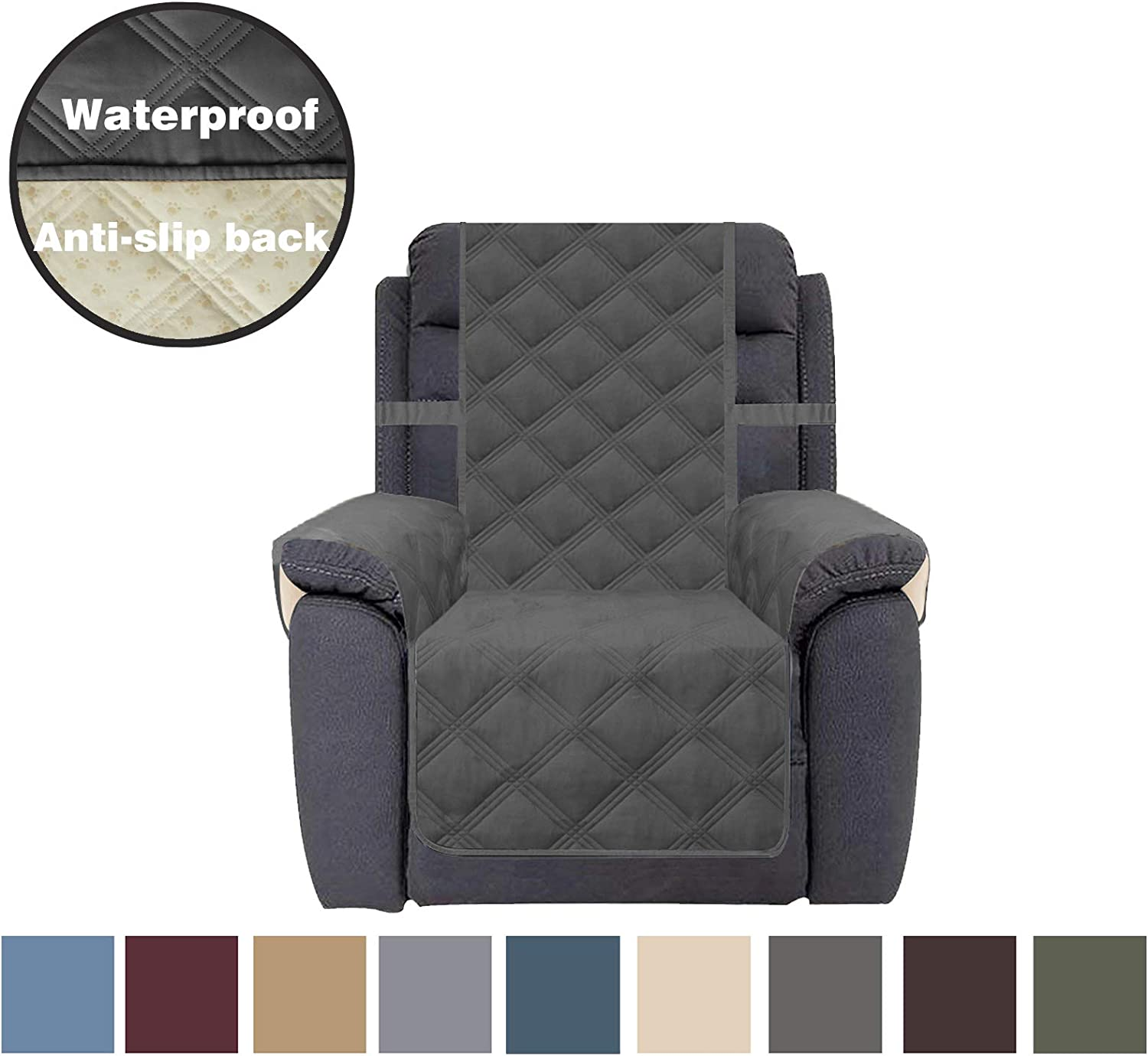 CHHKON Sofa Cover Waterproof with Anti-Skip Dog Paw Print 100% Quilted Furniture Protector Sofa Slipcover for Children, Pets for Leather Couch (Dark Gray, Recliner)