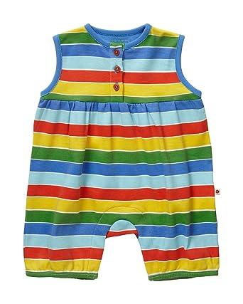 a4e9652e919 Piccalilly Organic Cotton Multicoloured Baby Boys Baby Girls Baby Unisex Rainbow  Stripe Shortie Romper  Amazon.co.uk  Clothing