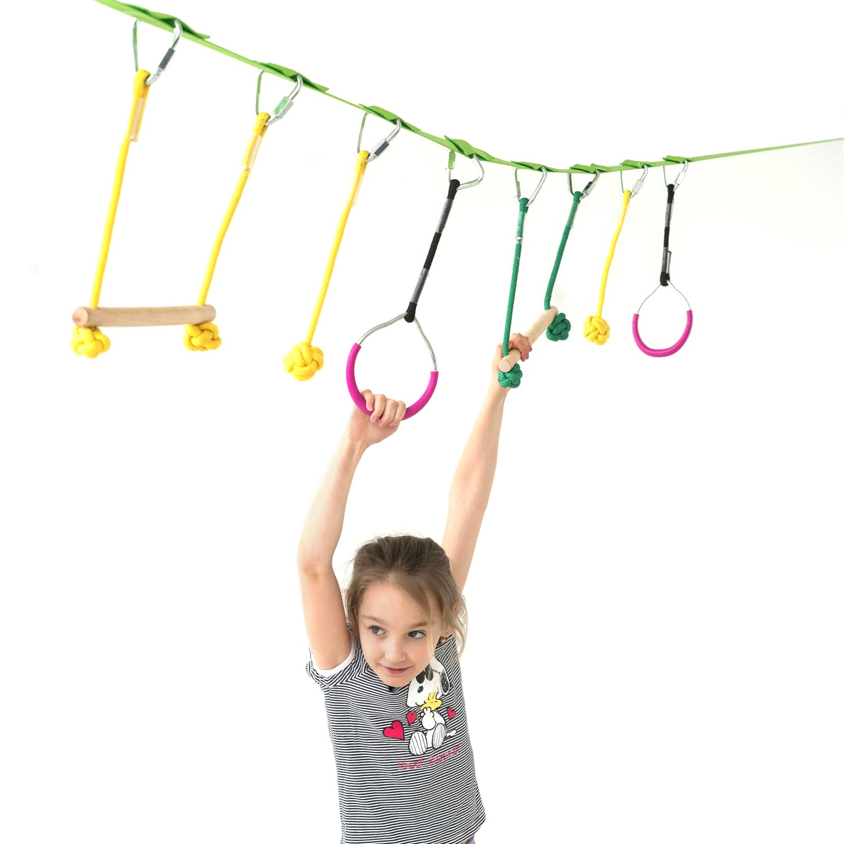 Powerfly Ninja Hanging Obstacle Course Kit for Kids - 36' Slackline, 2 Monkey Bars, 2 Gymnastics Rings, 3 Fists - Obstacles Adventure Line Equipment Set for Backyard or Playground Activities by Powerfly (Image #1)