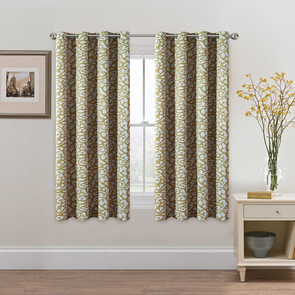 Taupe Floral Pattern Blackout Curtains for Living Room/Bedroom