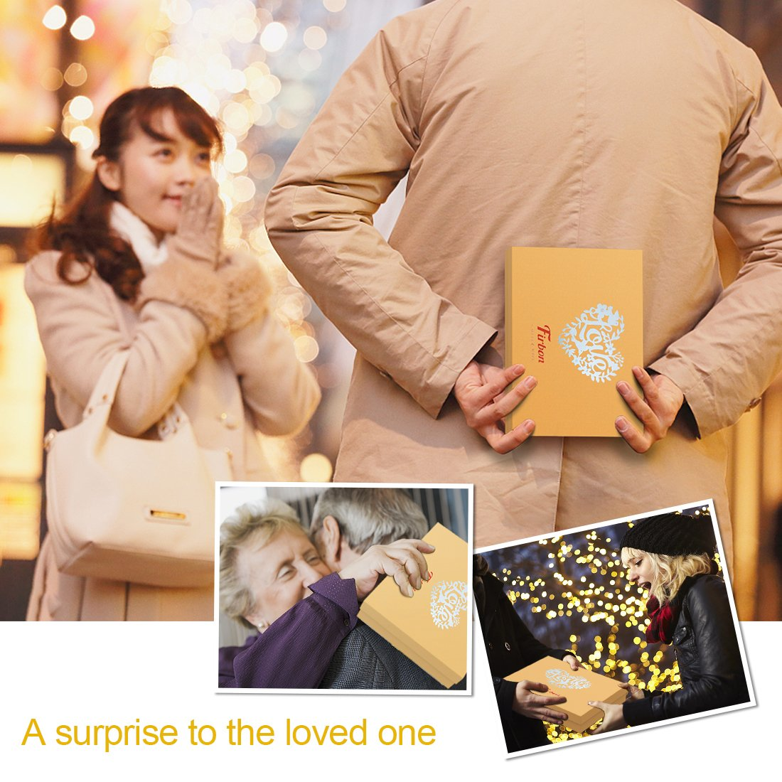 Scrapbook A4 Album Personalized Memo Book with Gift Box Package for Christmas and Valentine\'s Day (Yellow)