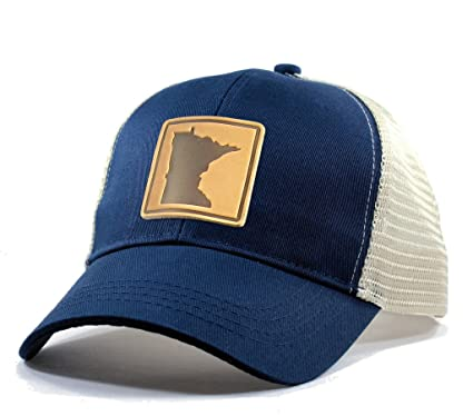 b2fbc0f2204 Amazon.com  Homeland Tees Men s Minnesota Leather Patch Trucker Hat ...