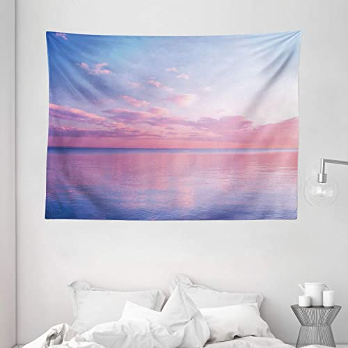 Ambesonne Sky Tapestry, Ocean Theme Clouds Over The Calm Sea at Twilight Digital Print, Wide Wall Hanging for Bedroom Living Room Dorm, 80 X 60 , Pink Blue