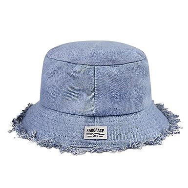 ca7b3357 FakeFace Popular Denim Bucket Hat with Tassel Brim Packable Summer Cap for  Lady Teenage Girl: Amazon.co.uk: Clothing
