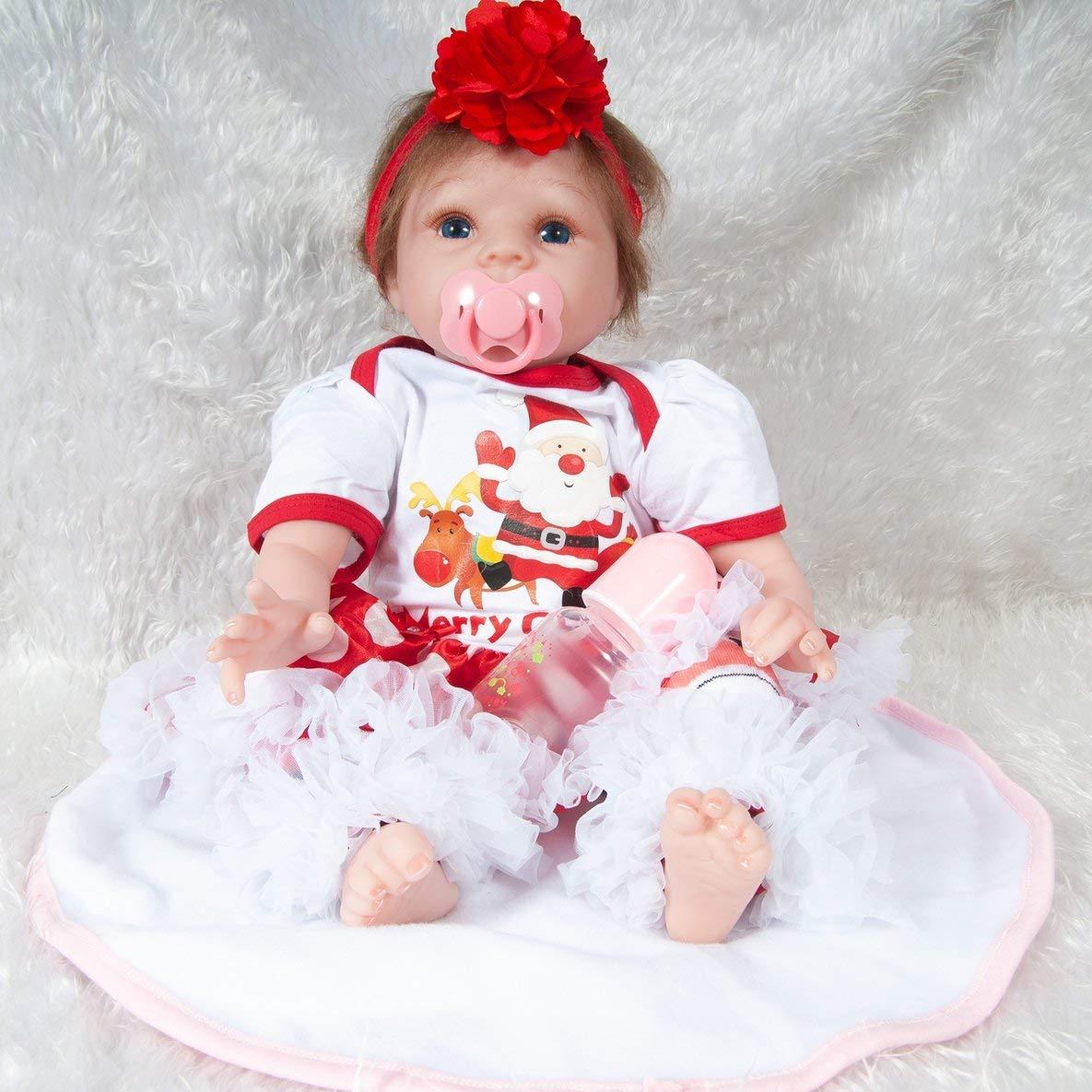 Moliies 55 cm Reborn Baby Doll Juguete Foto Apoyos Realista Paño Suave Cuerpo Navidad Papá Noel Decoración Recién Nacido Muñeca Regalo de Cumpleaños