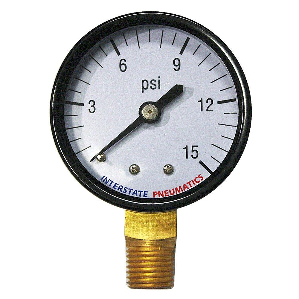 Interstate Pneumatics G2012 015 Pressure Gauge 15 PSI 2 Inch Diameter1 4 Inch NPT Bottom Mount