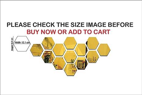 Buy Wall1ders Hexagon Golden 3d Acrylic Mirror Wall Decor Stickers