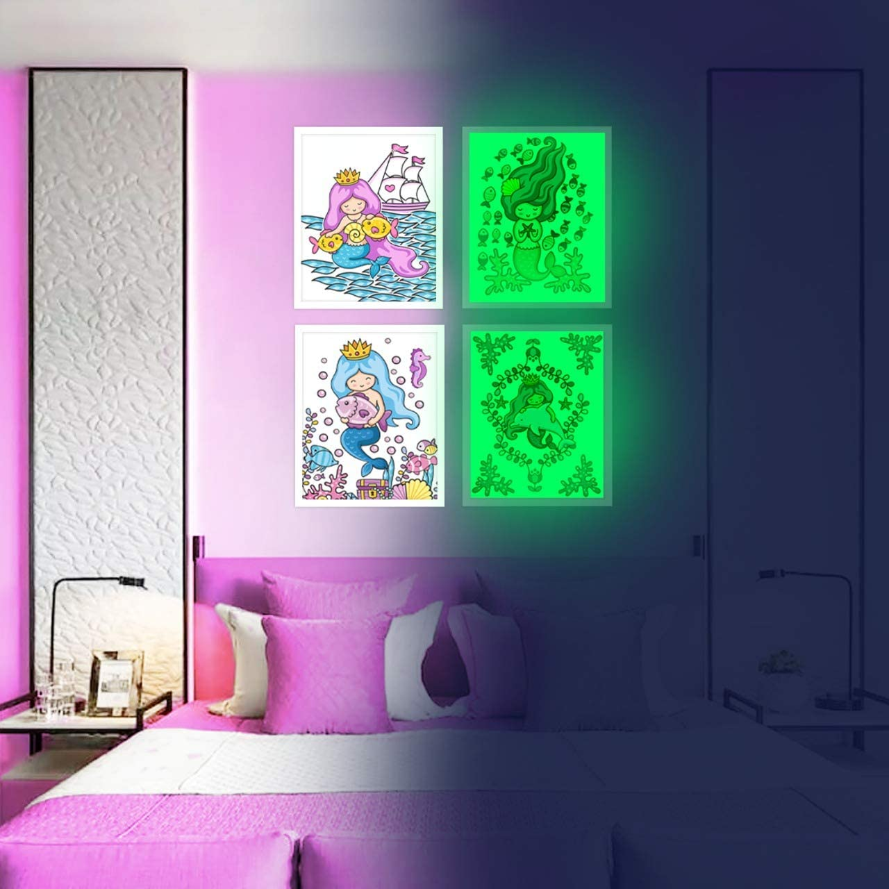 Mermaid Wall Decor, Glow in The Dark 4 Posters for Girls Bedroom,Glowing Pictures, Birthday Gift for for Toddlers Room ,Party Decorations & Supplies