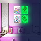 Mermaid Wall Decor, Glow in The Dark 4 Posters for Girls Bedroom,Glowing Pictures, Birthday Gift for for Toddlers Room…