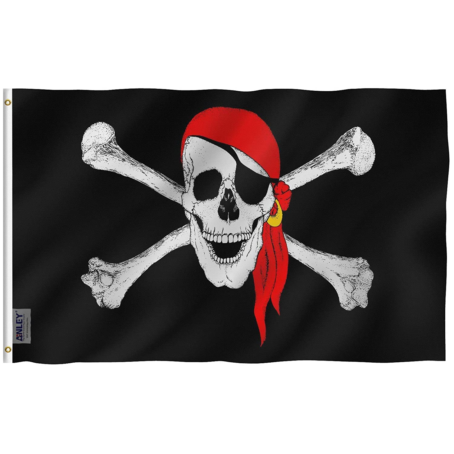 Anley? Fly Breeze 90 x 150 cm Bandera Jolly Roger con Bandana Roja ...