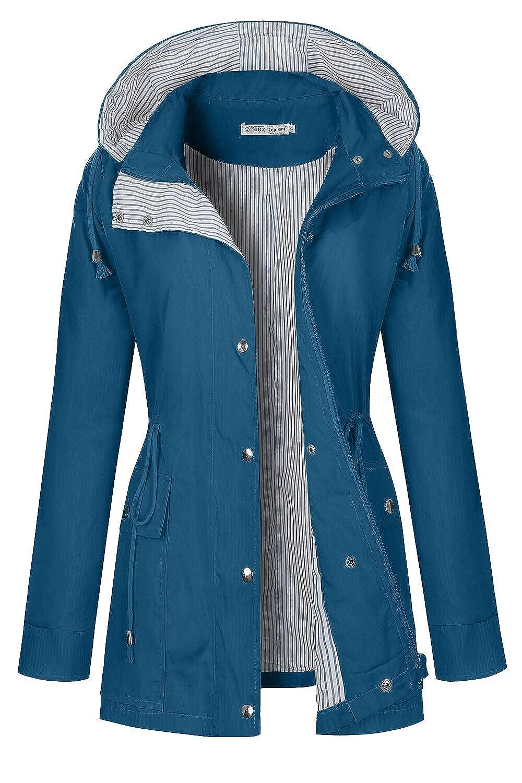 Cobalt bluee BBX Lephsnt Rain Coats for Women Lightweight Rain Jacket Active Outdoor Trench Coat