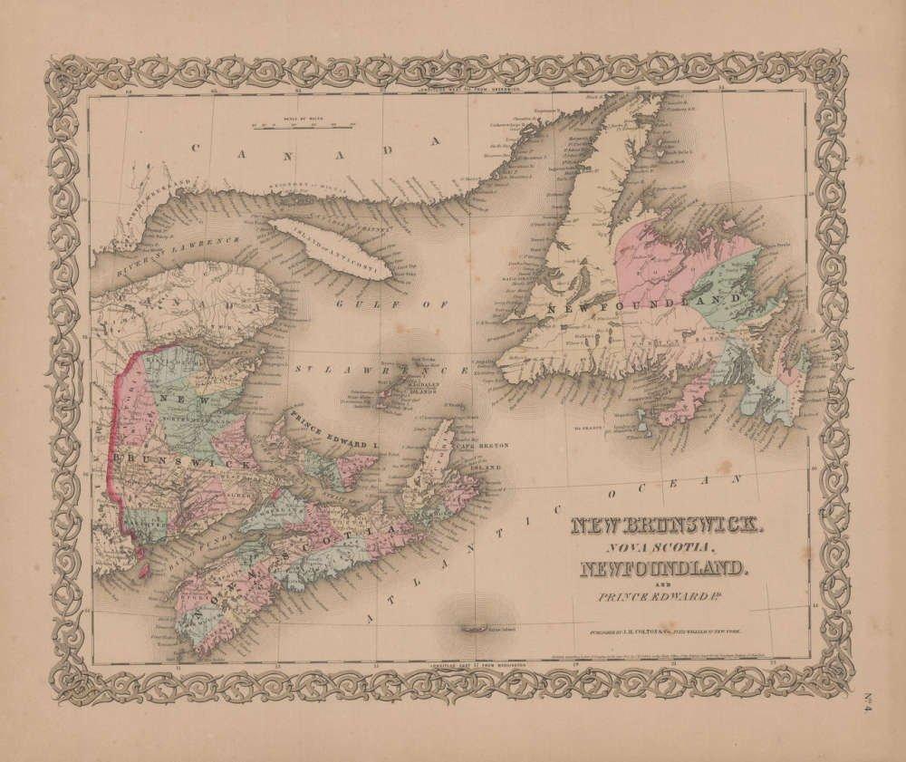 Amazon Com New Brunswick And Nova Scotia Vintage Map Gw