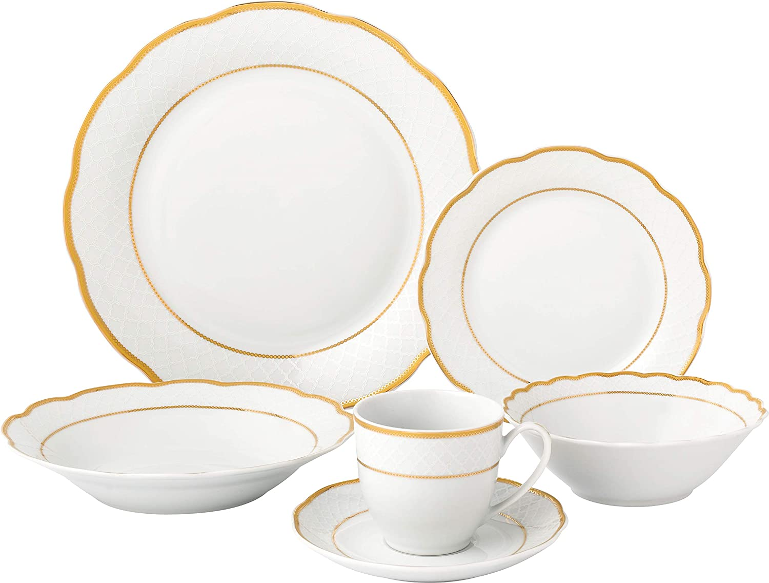 Lorren Home Trends LH440 Dinner Sets for gatherings, One Size, Gold