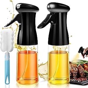 Oil Sprayer for Cooking 2PACK Olive Oils Reusable Dispenser Spray Bottle Set with Brush Versatile Food Vinegar Spritzer Refillable Plastic Bottle for Air Fryer Kitchen Salad BBQ Baking 7Oz/200ML Black