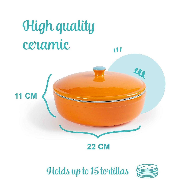 Fiesta /à la maison Convient comme un cr/êpe et Chips Keeper micro-ondes Uno Casa Tortilla c/éramique r/échauffeur et serveur Tortillas pour une f/ête four S/ûr