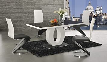 a52f6253e2ab2 Image Unavailable. Image not available for. Colour  Halo Black Glass    White High Gloss Dining Set - Dining Table + 4 Leona Chairs