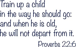 CustomVinylDecor Religious Quote Proverbs 22:6 Vinyl Wall Sticker   Train Up a Child in The Way He Should Go Vinyl Decal for Home Decor for Bedroom, Playroom, or Bible School   Small and Large Sizes
