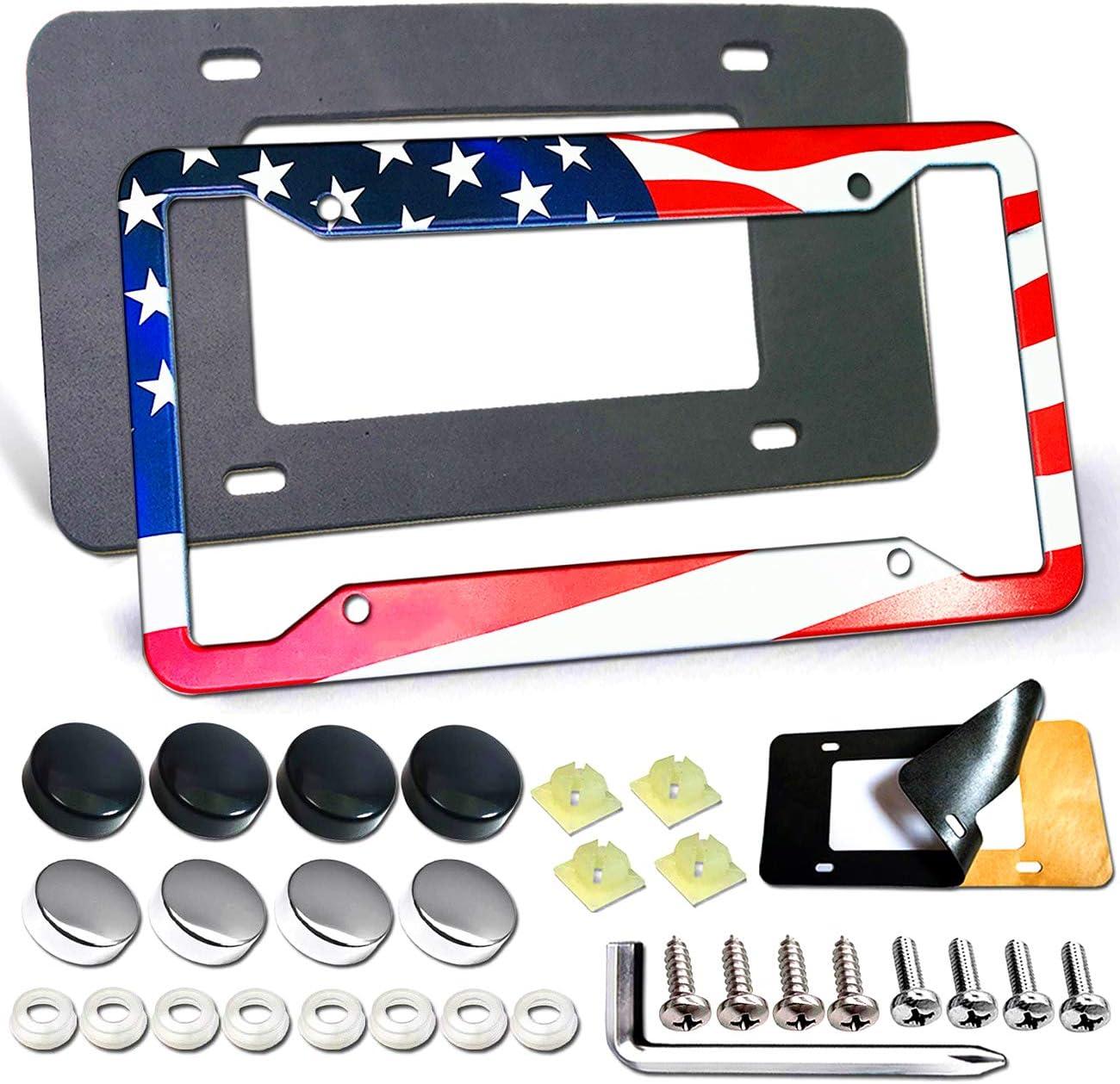 Aootf American Flag License Plate Frame-Black Aluminum License Plate,US Flag Car Tag Frame,United States Flag License Plate Frame American Flag License Plate Frame