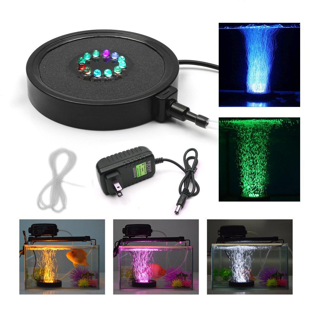 KAPATA Fish Tank Light Underwater Air Bubble Color Changing LED Air Stone for Aquarium Fish Tank Decoration