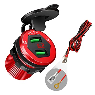 Quick Charge 3.0 Car Charger, 12V/24V USB Car Charger, Aluminum Dual QC3.0 USB Port Charger Socket Power Outlet with LED Digital Voltmeter DIY Kit for Marine, Boat, Motorcycle, Truck, Golf Cart(Red)