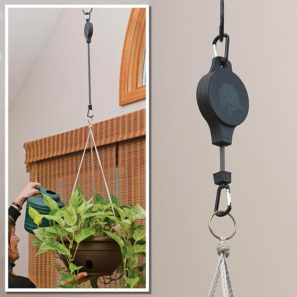 Bits and Pieces Home and Garden Gadgets-Easy Reach Plant Pulley Set of Two (2) Makes Watering Home Plants Easy - Raise and Lower Plants and Bird Feeders With One Touch by Bits and Pieces