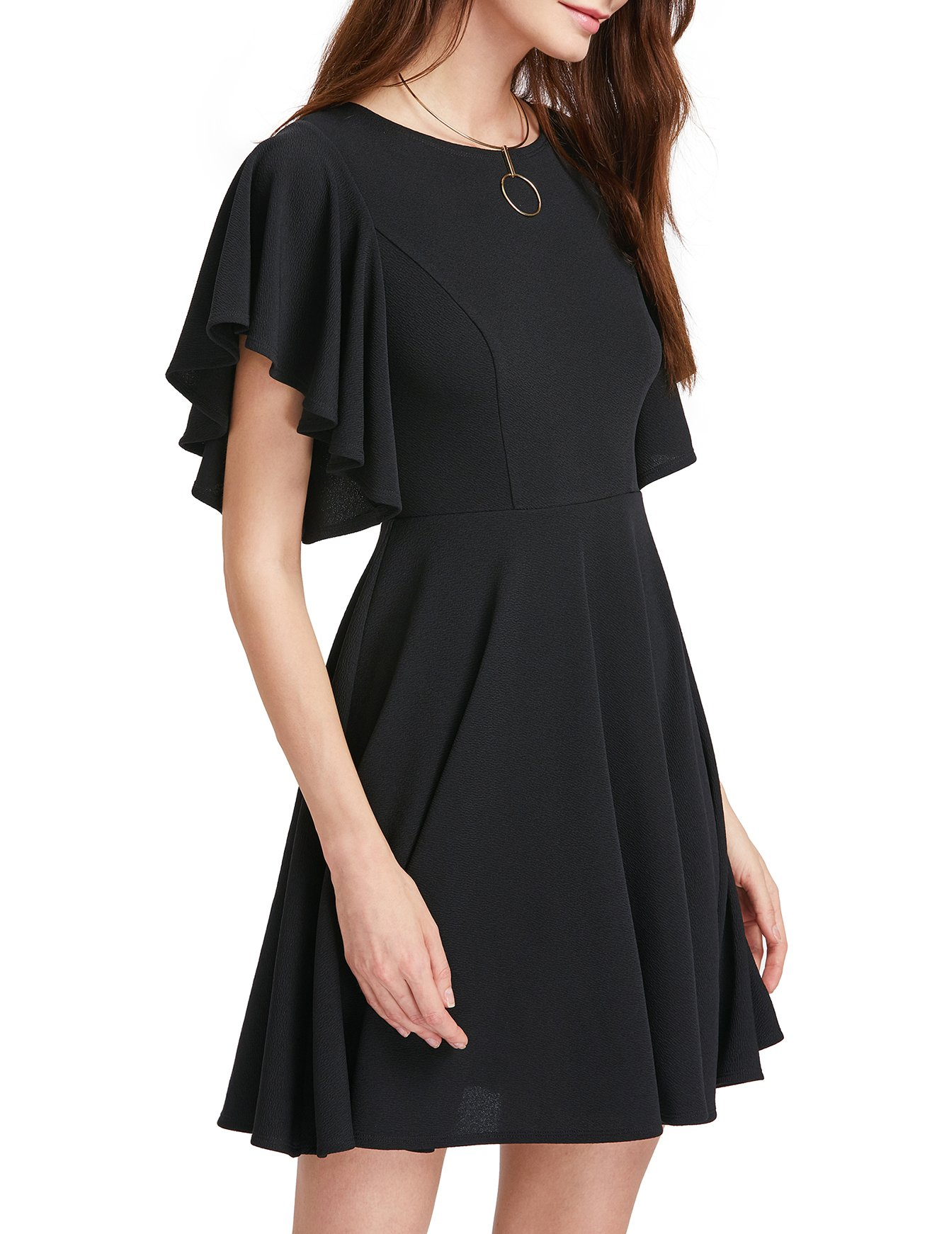 ROMWE Women's Stretchy A Line Swing Flared Skater Cocktail Party Dress Black L by Romwe (Image #3)
