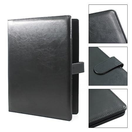 Laconile carpeta A4 portapapeles, portadocumentos rellenable, cartera organizadora de piel sintética resistente, color negro 25X32cm: Amazon.es: Oficina y ...