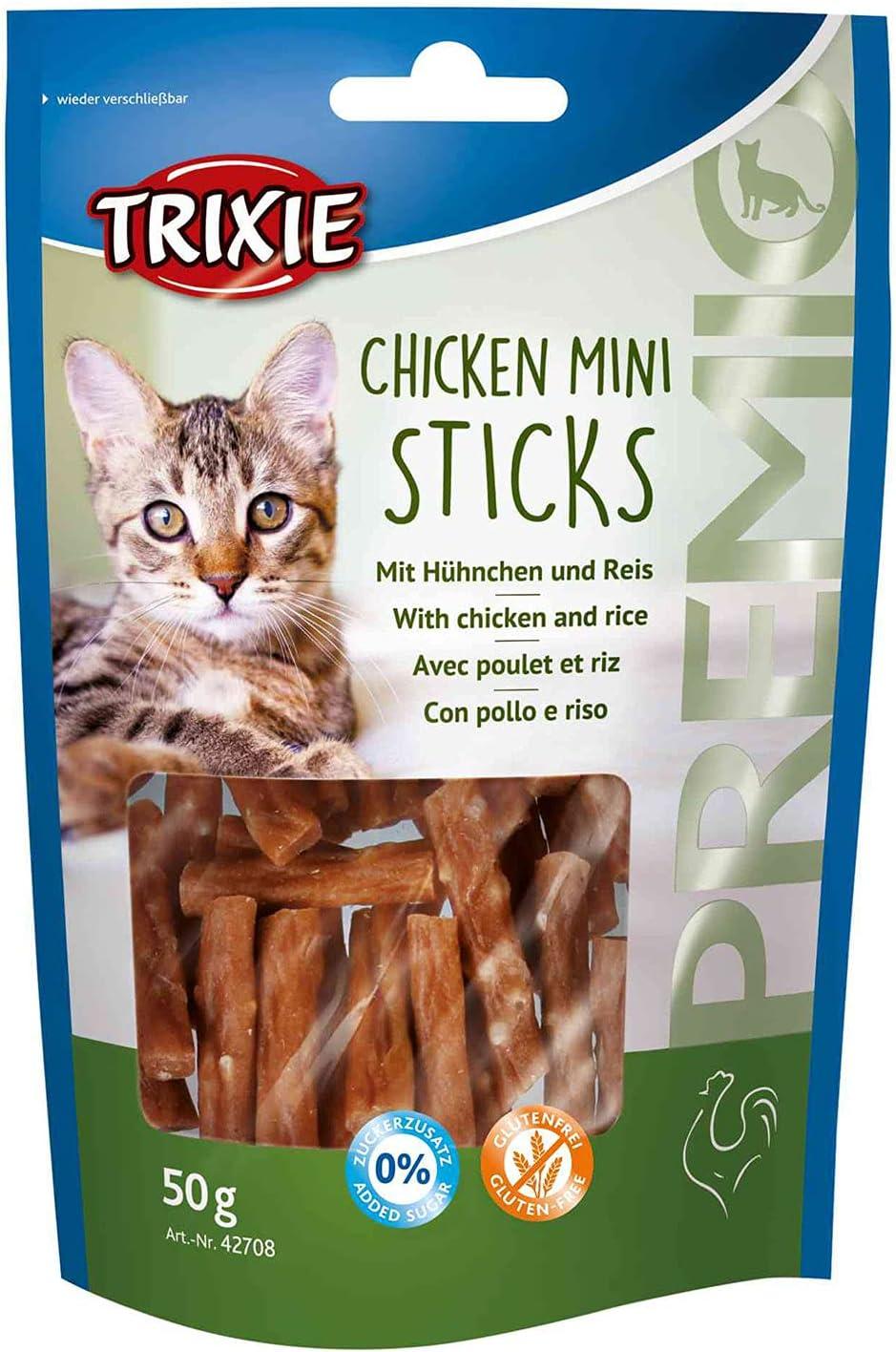 TRIXIE Snack PREMIO Chicken Mini Sticks, Pollo/Arroz, 50 g, Gato