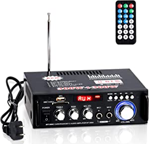 Facmogu Wireless Bluetooth 5.0 Stereo Audio Amplifier, 300W+300W Hi-Fi Dual Channel Power Sound Receiver w/USB, SD Card, FM Radio for Home Speakers & Theater System with Remote Controller - US Plug