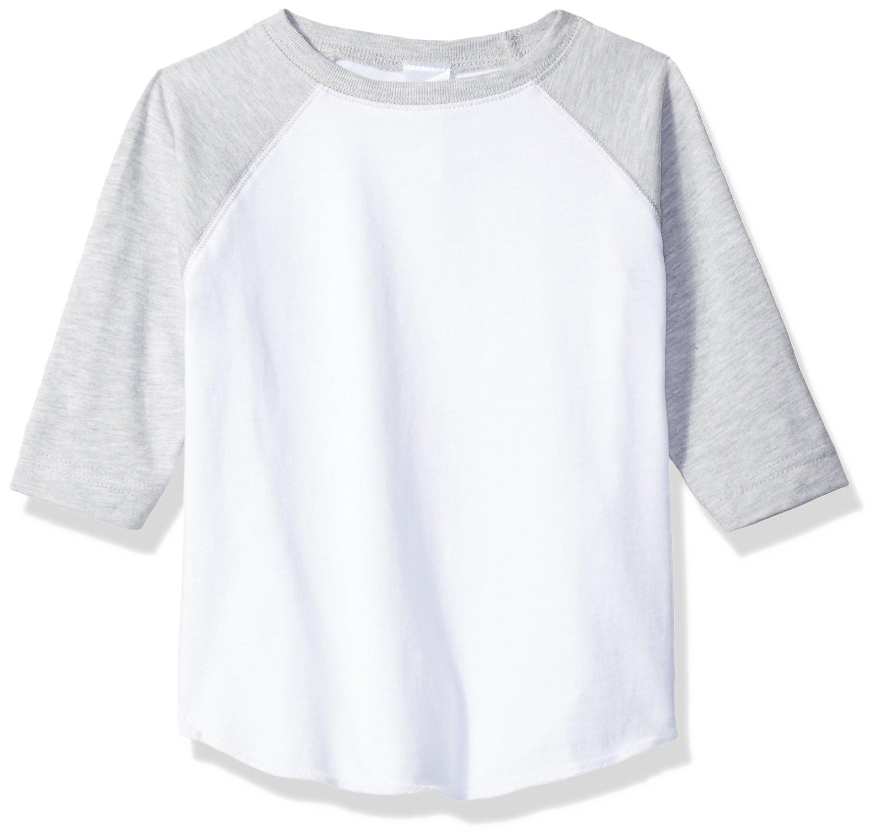 Clementine Toddler Kids Baseball Softline Fine Jersey T-Shirt, White/VN HTHR, 2T