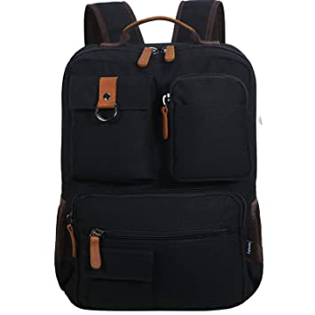 Fafada Mochila para Portatil Hombre Mujer Casual Lona Vintaje Retro Cremallera Backpack PC Laptop 14.6 Pulgadas