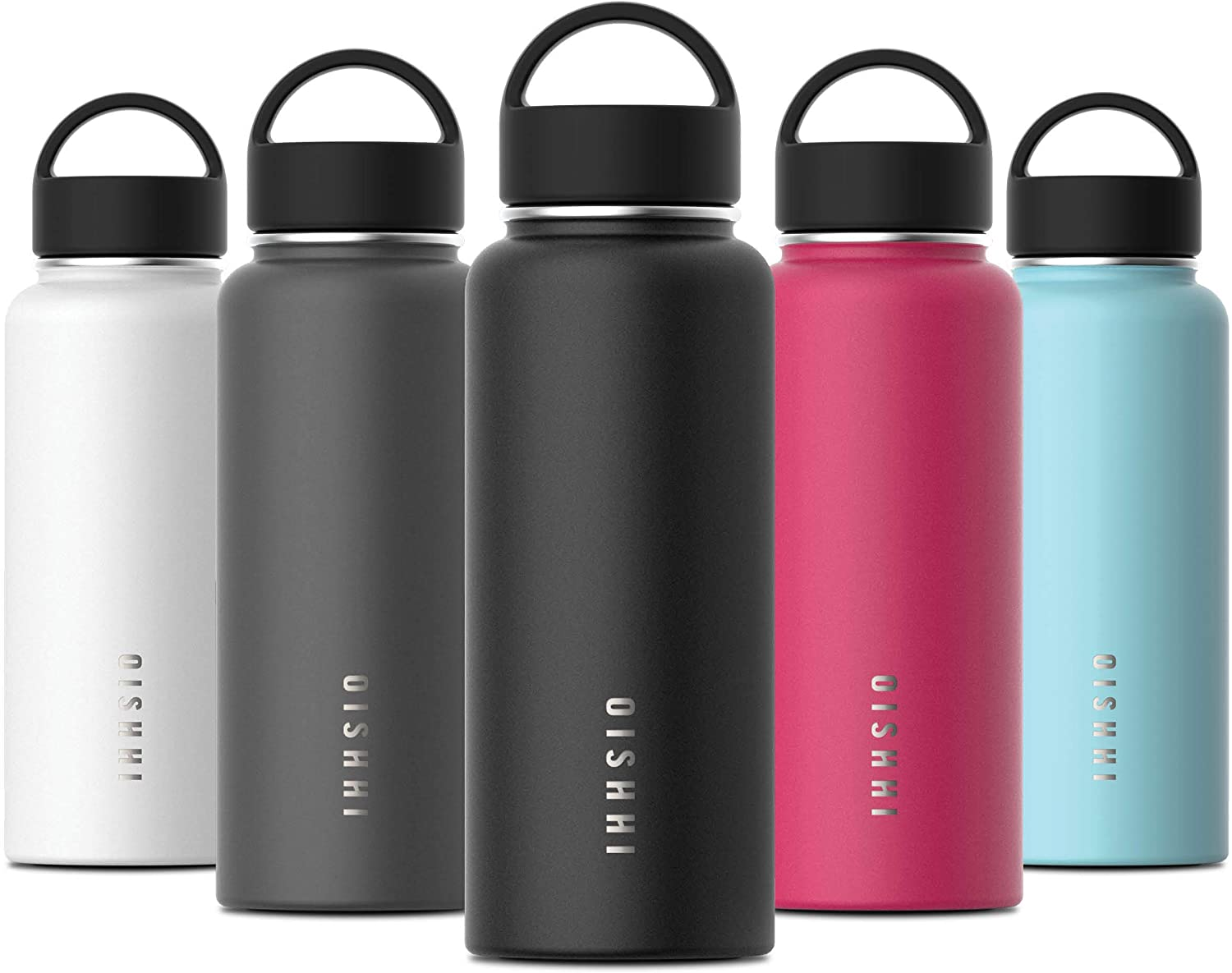 OISHHI Triple-Wall Water Bottle - 18/10 (SUS316) Stainless Steel Vacuum Insulated Bottles - 34oz,20oz Hydro Sports Wide Mouth Flask with Leak Proof Cap - Silicone Bottom Thermos Mug