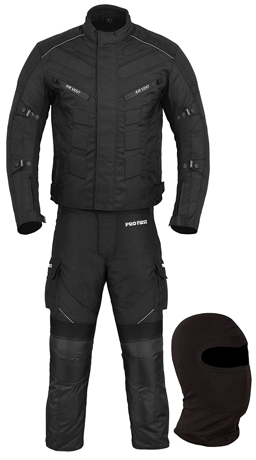 JKT-007 Waterproof Motorbike Motorcycle Jacket in Cordura Fabric and CE Approved Armour 6 Packs Design Most Popular Black /& Full Black, 2X-Large