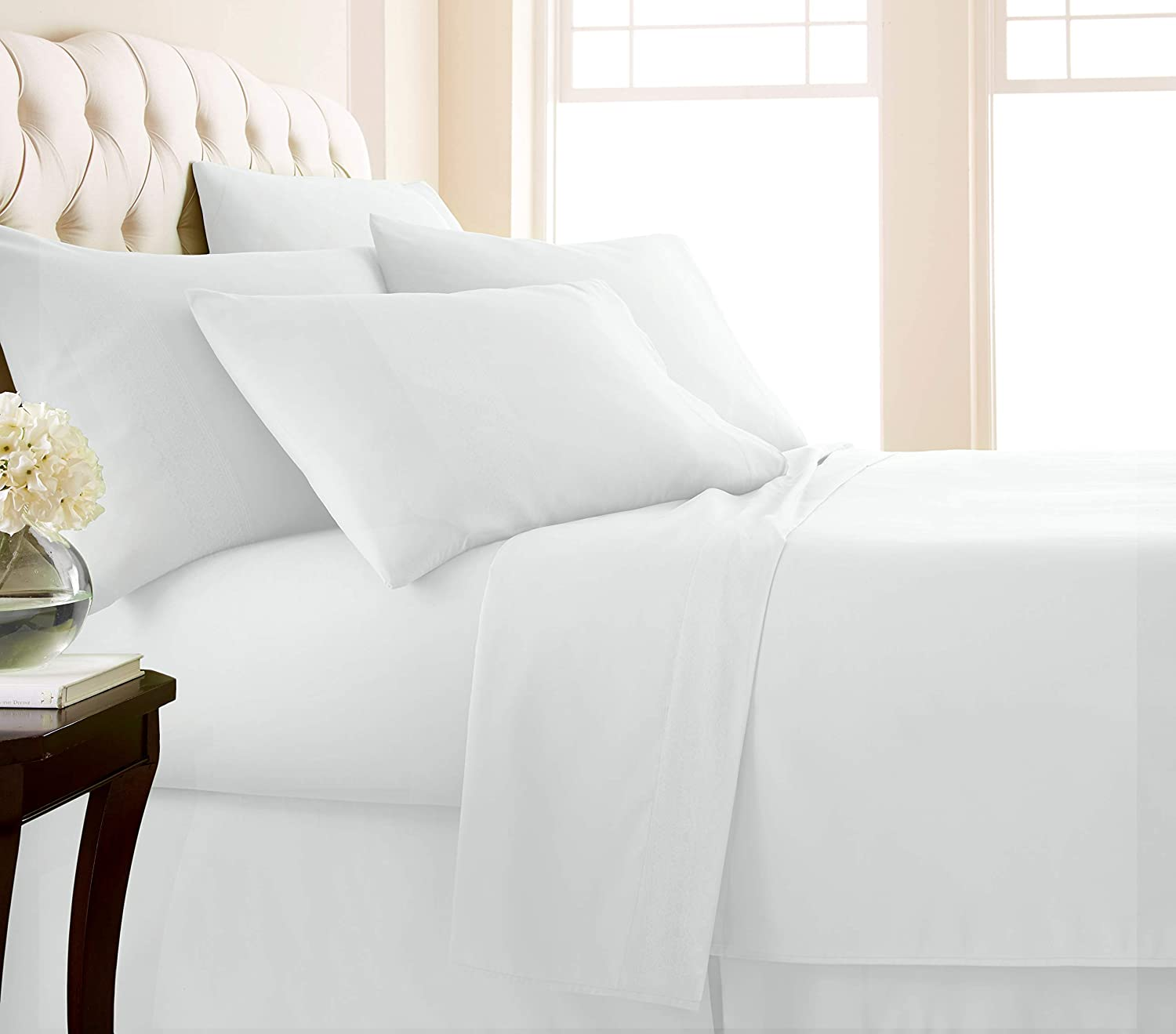 Southshore Fine Living, Inc. Vilano Springs - Premium Collection 6-Piece, 21 Inch Extra-Deep Pocket Sheet Sets, Bright White, Full