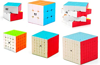 D ETERNAL QiYi Rubiks Rubix Cube Set of 2x2 3x3 4x4 5x5 6x6 7x7 High Speed Stickerless Magic Puzzle Cube