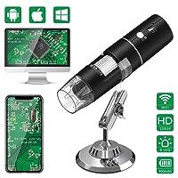 Wifi Microscopio Digital,HEYSTOP 1080P HD 2MP Mini Cámara,Aumento de 50 a 1000x Endoscopio,8 LED USB 2.0 Microscopio Ddigital con Metal Soporte Compatible con iPhone IOS Teléfono Android ipad Windows MAC (Negro)