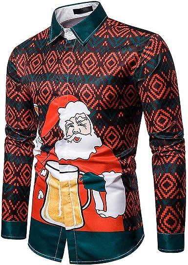 CLOOM Casual Camiseta Navidad Hombre Santa Claus Divertido Impresión Navideño Nochebuena Camisa De Botones Moda Fiesta Manga Larga Blusa para Noche Carnaval: Amazon.es: Ropa y accesorios
